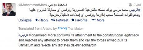 Élőben követte Twitteren bukását az egyiptomi elnők